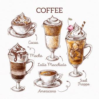 Concept d'illustration de types de café