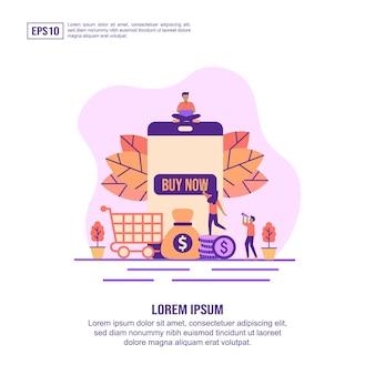 Concept d'illustration vectorielle des achats en ligne