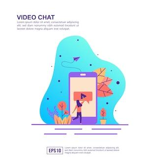 Concept d'illustration vectorielle de chat vidéo