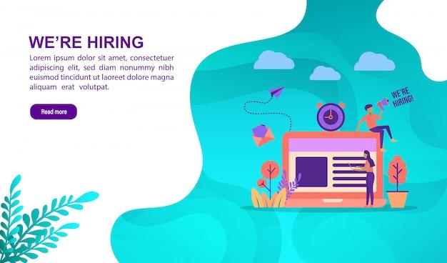 Concept d'illustration vectorielle du travail d'embauche avec personnage. modèle de page de destination