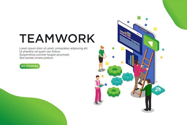 Concept d'illustration vectorielle isométrique de travail d'équipe