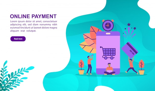 Concept d'illustration vectorielle de paiement en ligne avec personnage. modèle de page de destination