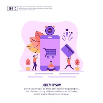 Concept D'illustration Vectorielle De Paiement En Ligne Vecteur Premium