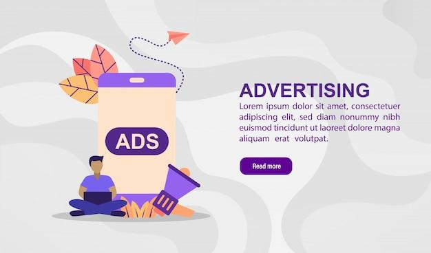 Concept d'illustration vectorielle de la publicité. illustration moderne conceptuelle pour modèle de bannière