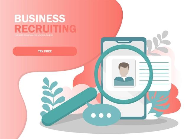 Concept d'illustration vectorielle de recrutement en ligne, homme d'affaires analysant le curriculum vitae, peut être utilisé pour la page de destination, le modèle, l'interface utilisateur, le web, l'application mobile, l'affiche, la bannière, le dépliant dans des couleurs modernes