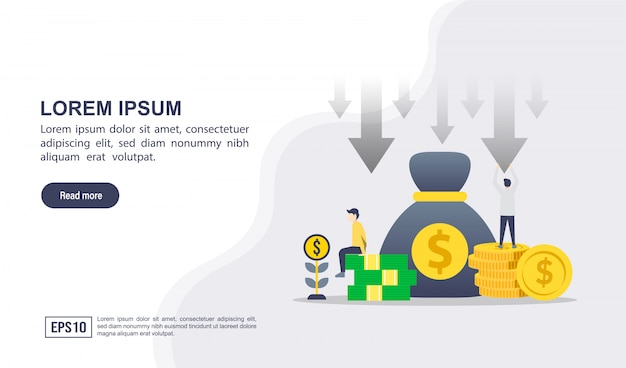 Concept d'illustration vectorielle de réduction des coûts avec personnage