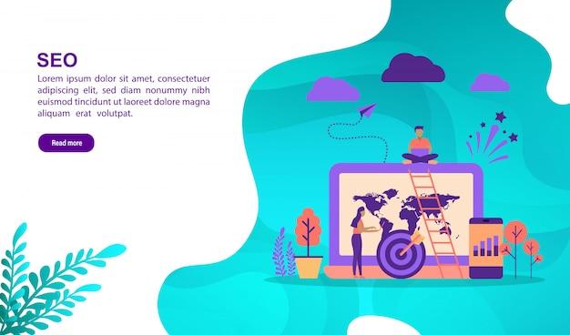 Concept d'illustration vectorielle de seo avec personnage. modèle de page de destination