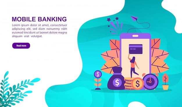 Concept d'illustration vectorielle de services bancaires mobiles avec personnage. modèle de page de destination
