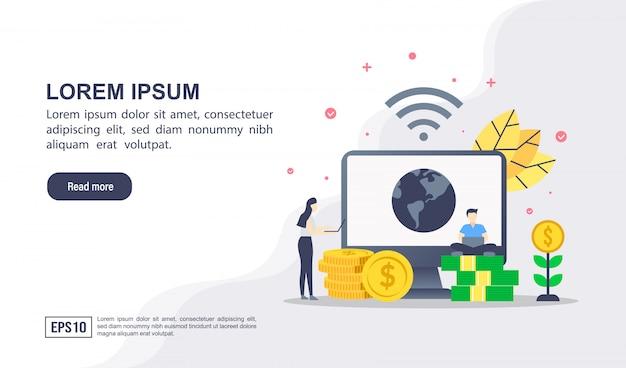 Concept d'illustration vectorielle de services bancaires par internet avec personnage