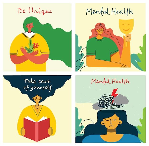 Concept d'illustration vectorielle de soins de santé mentale traitement. un médecin spécialiste travaille pour donner une thérapie psychologique. caractère de minuscules personnes avec un design en échelle. impression de bannières, d'affiches ou de médias sociaux.