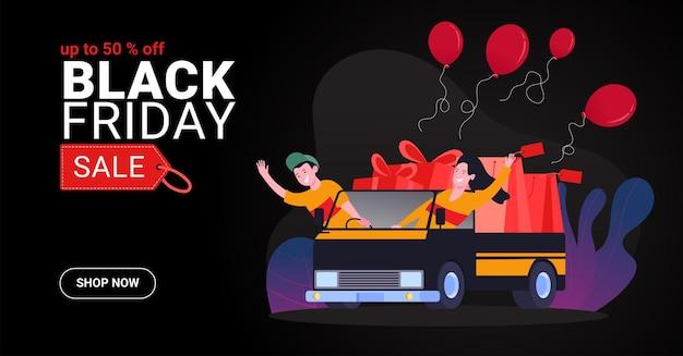 Concept d'illustration de vente vendredi noir