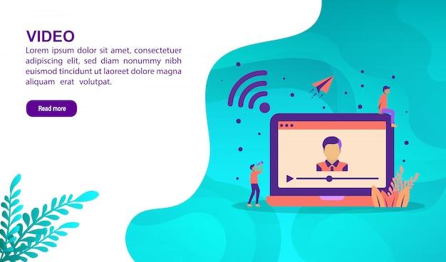Concept d'illustration vidéo avec personnage. modèle de page de destination