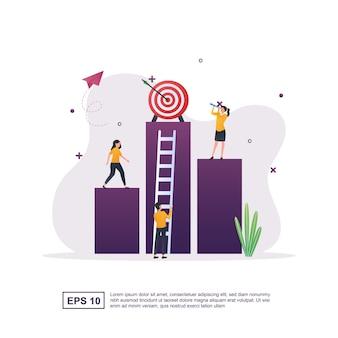 Concept d'illustration de la vision d'entreprise avec la personne qui attend avec impatience.