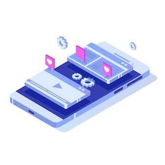 Concept d'illustration web seo optimisation isométrique. modèle de page de destination. autocollant pour bannière web, page web, bannière, présentation, médias sociaux, documents, cartes, affiches.