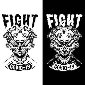 Concept illustrations crâne coronavirus covid-19, isolé sur fond sombre et lumineux