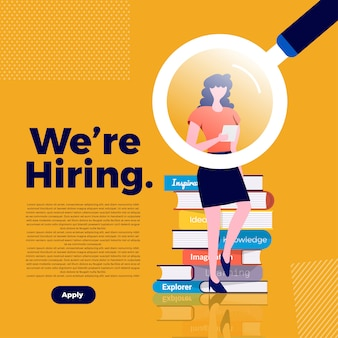 Concept d'illustrations que nous embauchons. annoncez la recherche d'un employé et recrutez un travailleur dans l'entreprise. illustrer.