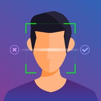 Concept d'illustrations technologie de reconnaissance faciale présente avec portrait gros plan sur le visage de l'homme pour l'analyse. pour éditeur de site web de bannière ou magazine. illustrer.