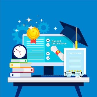 Concept illustré de certification en ligne