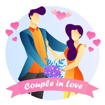 Concept illustré couple anniversaire romantique fond créatif