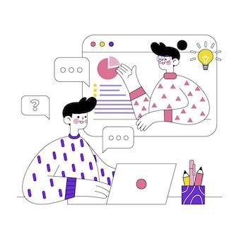 Concept illustré de cours en ligne