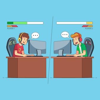Concept illustré de jeux en ligne