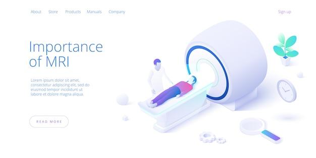 Concept d'imagerie par résonance magnétique dans la conception de vecteur isométrique. médecin de sexe masculin faisant des diagnostics de patiente avec une machine ou un équipement irm. modèle de mise en page de bannière web.