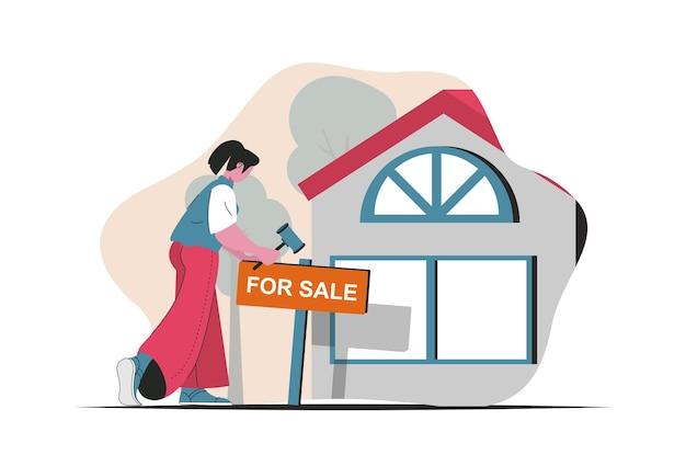 Concept immobilier isolé. maisons à vendre, services d'agent immobilier, prêts bancaires, hypothèque. scène de personnes en dessin animé plat. illustration vectorielle pour les blogs, site web, application mobile, matériel promotionnel.