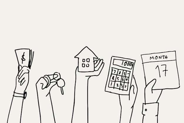 Concept immobilier de vecteur financier doodle