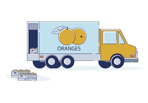 Concept d'importation mondiale de fruits