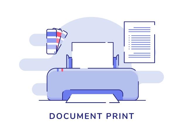 Concept d'impression de document imprimante couleur palette papier texte blanc fond isolé