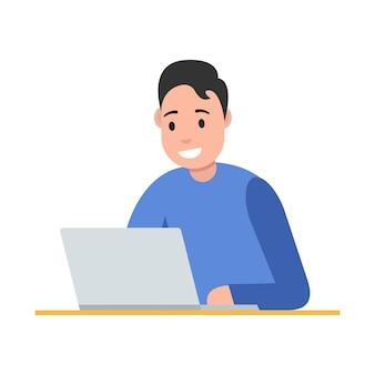 Concept indépendant. homme travaillant sur ordinateur portable