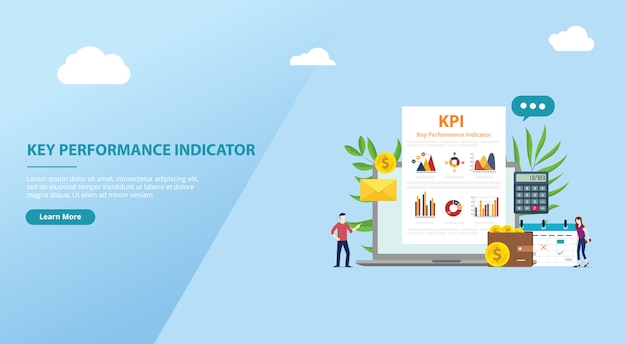 Concept d'indicateur de performance clé kpi