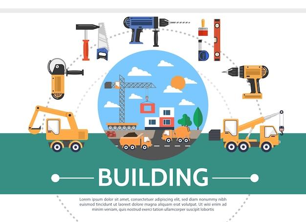 Concept de l'industrie du bâtiment plat