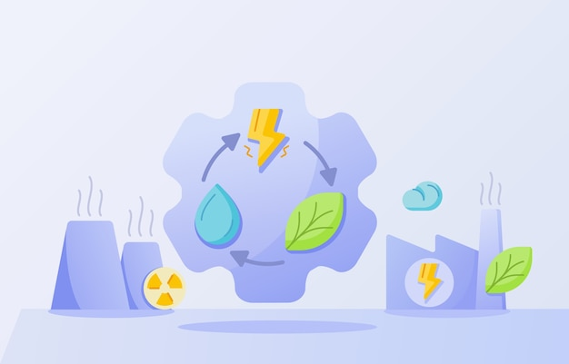 Concept de l'industrie de l'énergie propre goutte foudre feuille d'eau