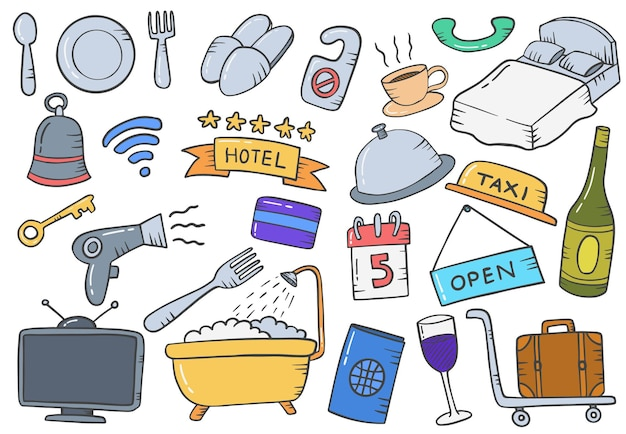 Concept de l'industrie hôtelière doodle collections de jeux dessinées à la main avec style de contour plat