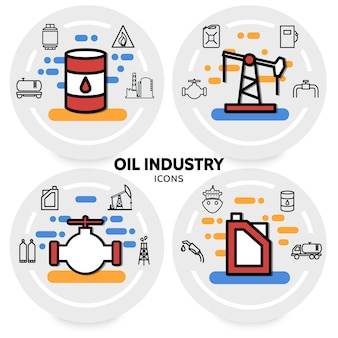 Concept de l'industrie pétrolière avec canister plate-forme de forage valve baril raffinerie usine tuyau pompe à carburant camion distributeur