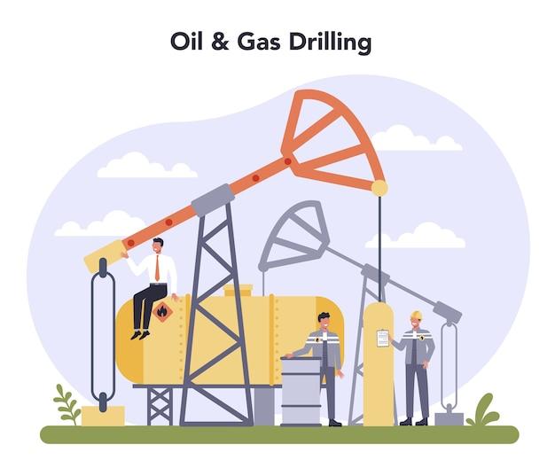 Concept de l'industrie pétrolière et gazière au design plat