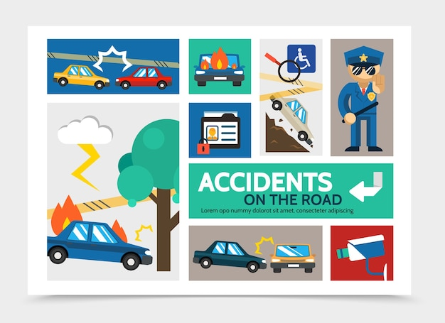 Concept d'infographie accident de voiture plat avec accident de voiture brûlant et tombant des automobiles de colline