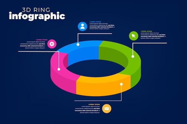 Concept d'infographie anneau 3d
