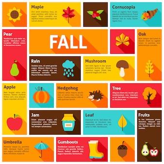 Concept d'infographie d'automne. illustration vectorielle. icônes saisonnières d'automne.