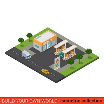 Concept d'infographie de bloc de construction de marché de station de remplissage de pétrole de gaz de route plat isométrique construisez votre propre collection mondiale d'infographie