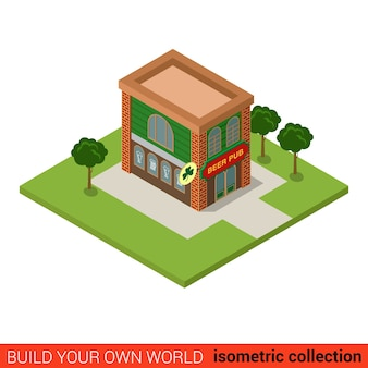 Concept d'infographie de bloc de construction de pub à bière plat isométrique bar taverne public house buisson de lierre ordinaire construisez votre propre collection mondiale d'infographie