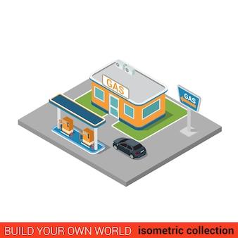 Concept d'infographie de bloc de construction de station de remplissage d'essence de pétrole de gaz plat isométrique construisez votre propre collection mondiale d'infographie