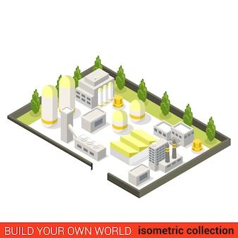 Concept d'infographie de bloc de construction d'usine de centrale électrique industrielle de mine de mine plat isométrique résumé de l'industrie lourde construisez votre propre collection mondiale d'infographie
