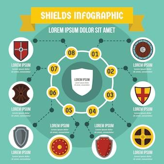 Concept d'infographie de boucliers, style plat