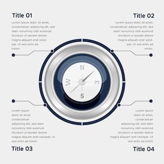 Concept d'infographie boussole plate