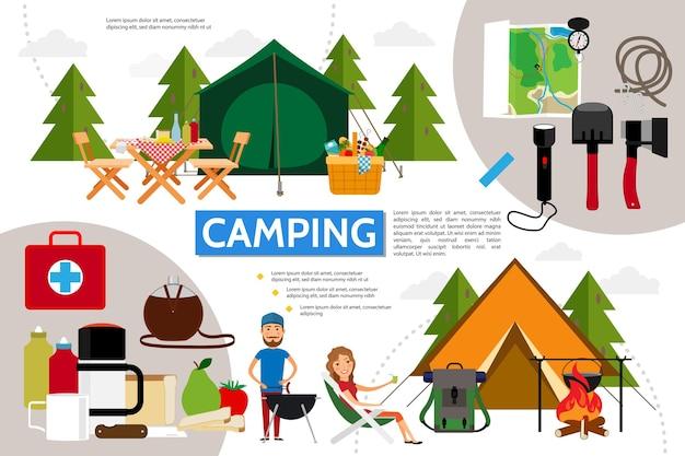 Concept d'infographie de camping plat