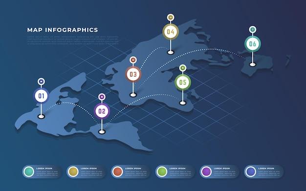 Concept d'infographie de cartes isométriques
