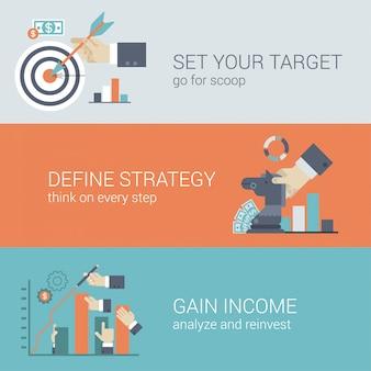 Concept d'infographie de cible de stratégie de réussite commerciale de style plat.