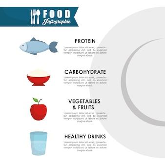 Concept de l'infographie avec un design d'icône de la nourriture saine